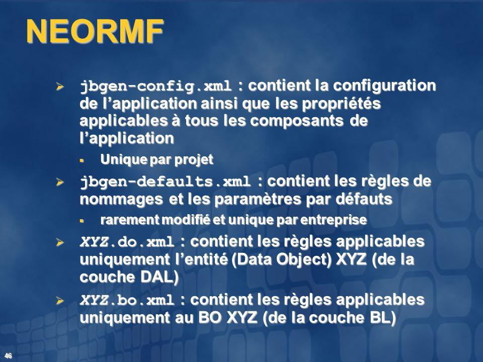 46 NEORMF jbgen-config.xml : contient la configuration de lapplication ainsi que les propriétés applicables à tous les composants de lapplication jbge