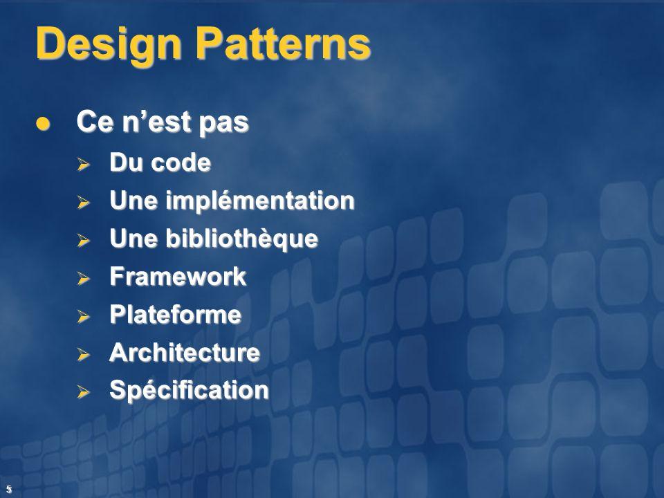 5 Design Patterns Ce nest pas Ce nest pas Du code Du code Une implémentation Une implémentation Une bibliothèque Une bibliothèque Framework Framework
