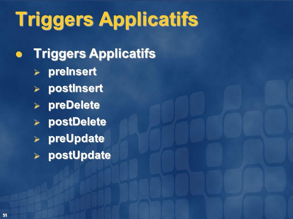 51 Triggers Applicatifs Triggers Applicatifs Triggers Applicatifs preInsert preInsert postInsert postInsert preDelete preDelete postDelete postDelete