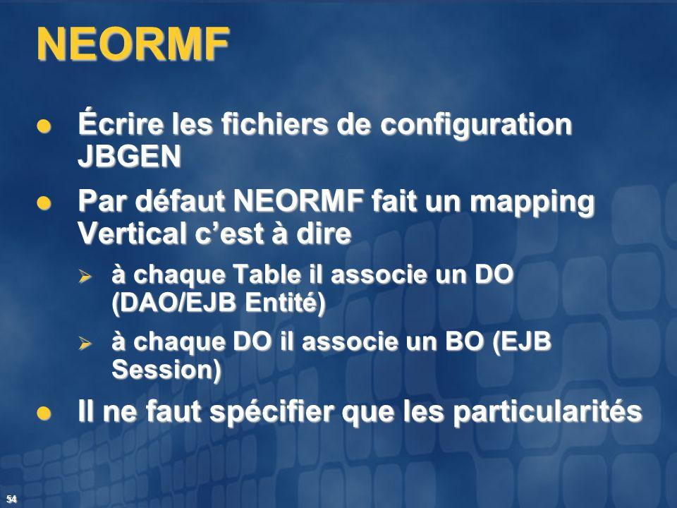 54 NEORMF Écrire les fichiers de configuration JBGEN Écrire les fichiers de configuration JBGEN Par défaut NEORMF fait un mapping Vertical cest à dire