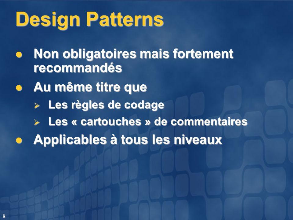 6 Design Patterns Non obligatoires mais fortement recommandés Non obligatoires mais fortement recommandés Au même titre que Au même titre que Les règl