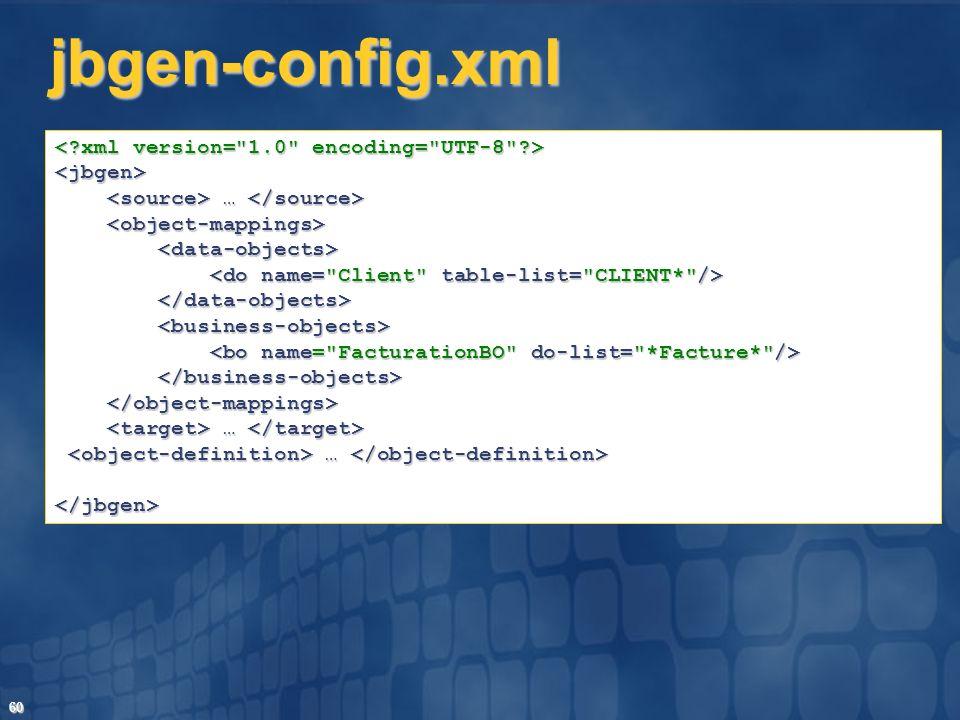 60 jbgen-config.xml <jbgen> … … … … </jbgen>
