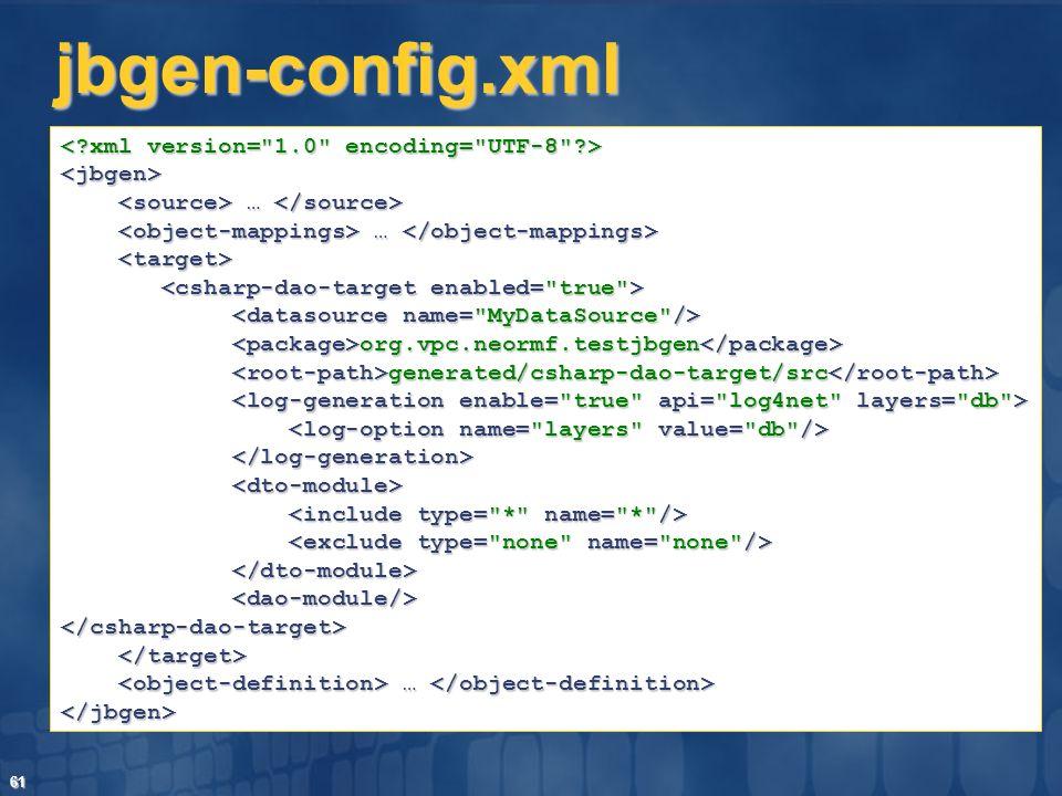 61 jbgen-config.xml <jbgen> … … org.vpc.neormf.testjbgen org.vpc.neormf.testjbgen generated/csharp-dao-target/src generated/csharp-dao-target/src </cs