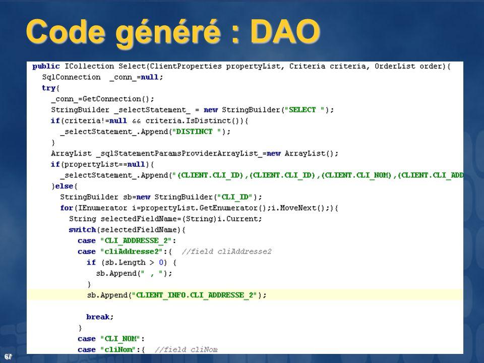 67 Code généré : DAO