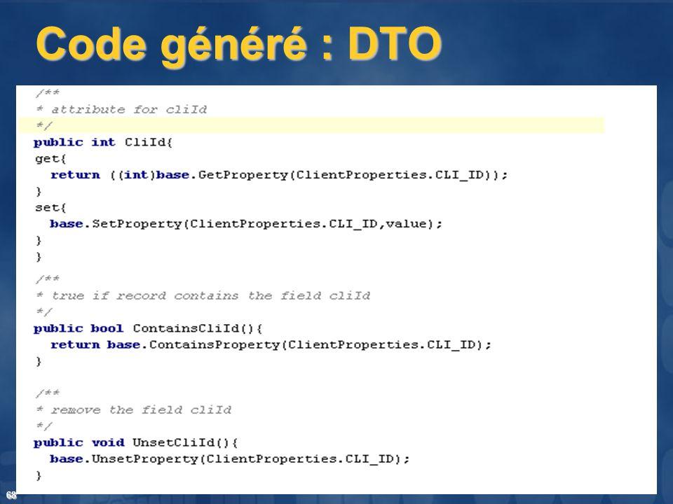 68 Code généré : DTO