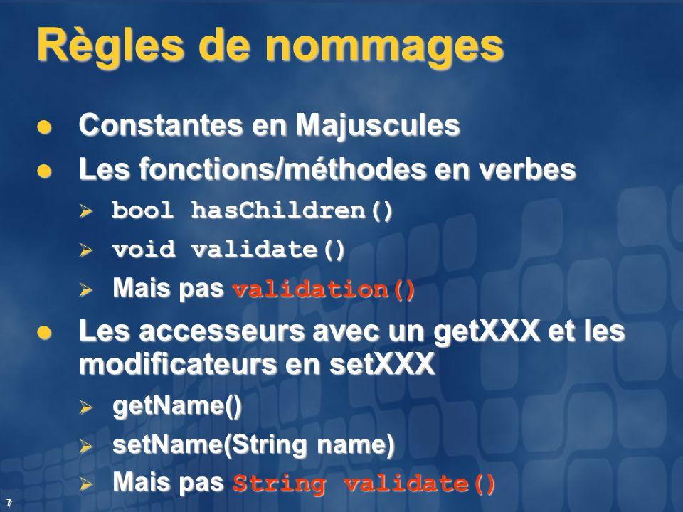 7 Règles de nommages Constantes en Majuscules Constantes en Majuscules Les fonctions/méthodes en verbes Les fonctions/méthodes en verbes bool hasChild