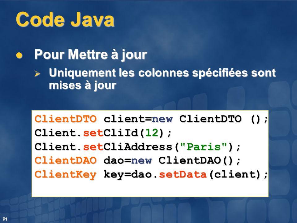 71 Code Java Pour Mettre à jour Pour Mettre à jour Uniquement les colonnes spécifiées sont mises à jour Uniquement les colonnes spécifiées sont mises