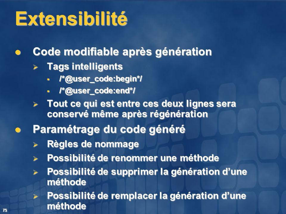 75 Extensibilité Code modifiable après génération Code modifiable après génération Tags intelligents Tags intelligents /*@user_code:begin*/ /*@user_co
