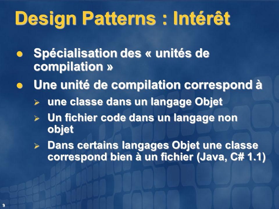 9 Design Patterns : Intérêt Spécialisation des « unités de compilation » Spécialisation des « unités de compilation » Une unité de compilation corresp