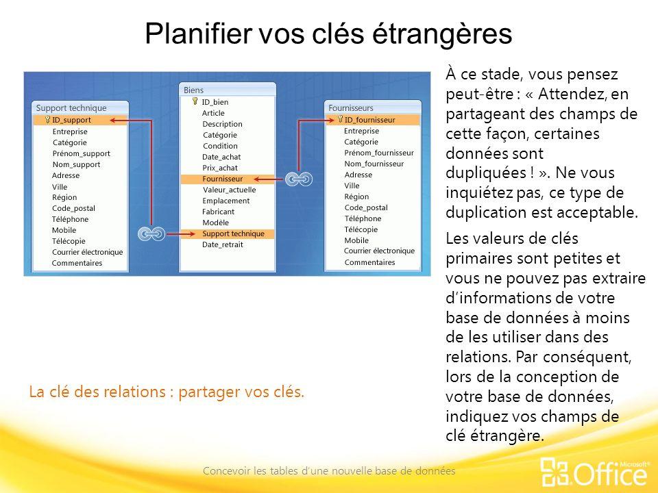 Planifier vos clés étrangères Concevoir les tables dune nouvelle base de données La clé des relations : partager vos clés. À ce stade, vous pensez peu