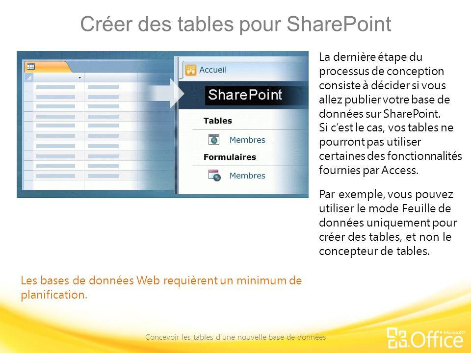 Créer des tables pour SharePoint Concevoir les tables dune nouvelle base de données Les bases de données Web requièrent un minimum de planification. L