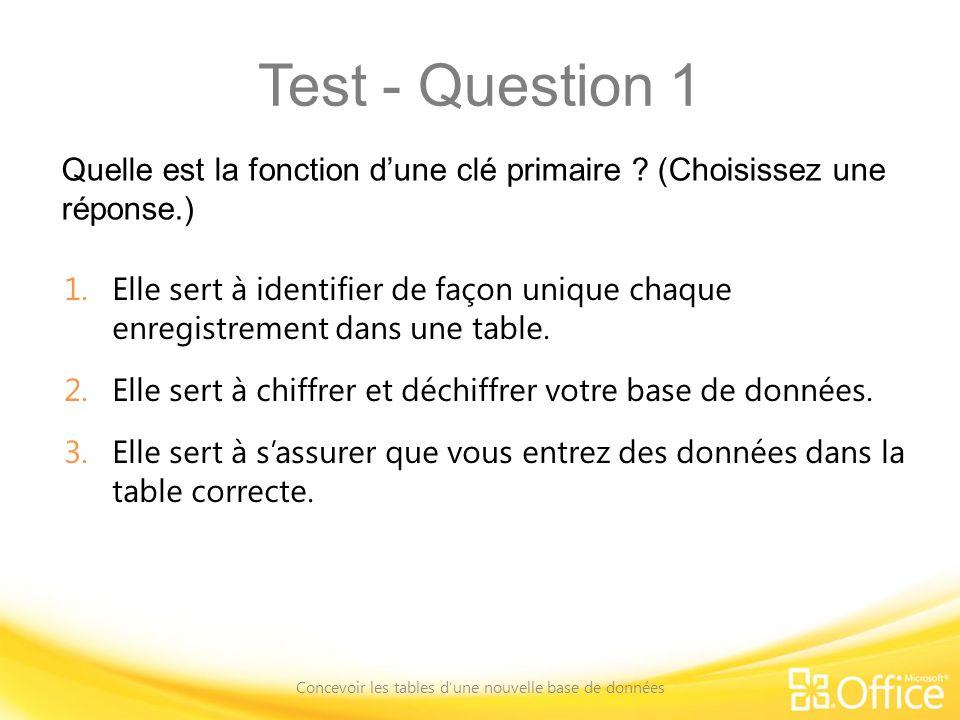 Test - Question 1 Quelle est la fonction dune clé primaire ? (Choisissez une réponse.) Concevoir les tables dune nouvelle base de données 1.Elle sert