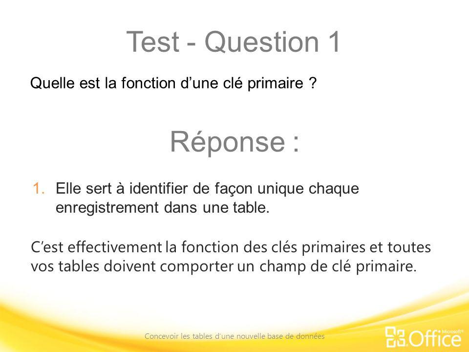 Test - Question 1 Concevoir les tables dune nouvelle base de données Cest effectivement la fonction des clés primaires et toutes vos tables doivent comporter un champ de clé primaire.