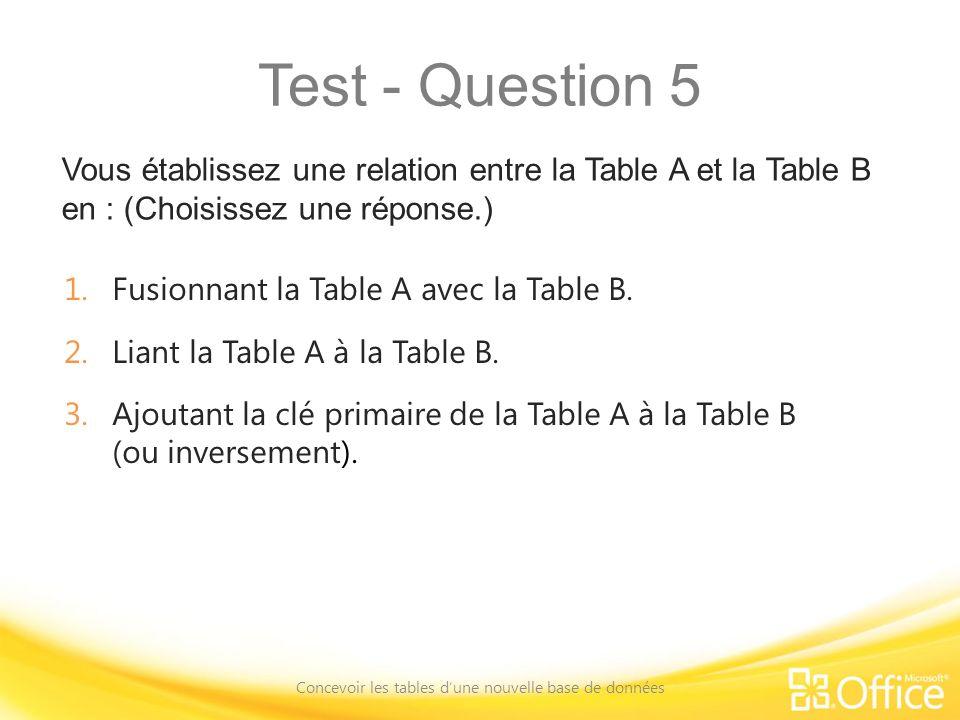 Test - Question 5 Vous établissez une relation entre la Table A et la Table B en : (Choisissez une réponse.) Concevoir les tables dune nouvelle base de données 1.Fusionnant la Table A avec la Table B.