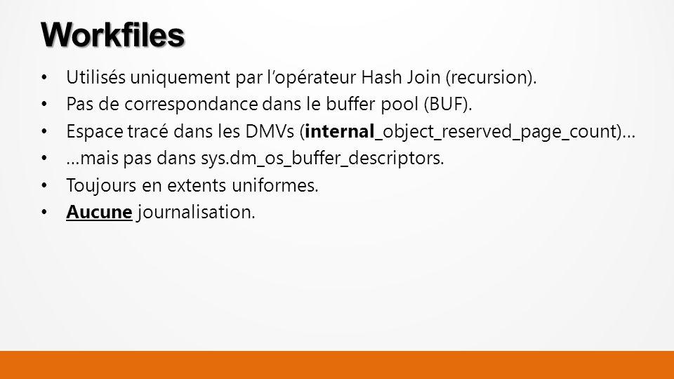 Utilisés uniquement par lopérateur Hash Join (recursion).