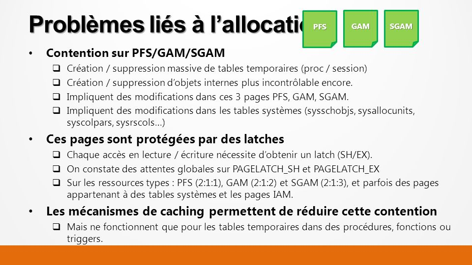 Contention sur PFS/GAM/SGAM Création / suppression massive de tables temporaires (proc / session) Création / suppression dobjets internes plus incontr