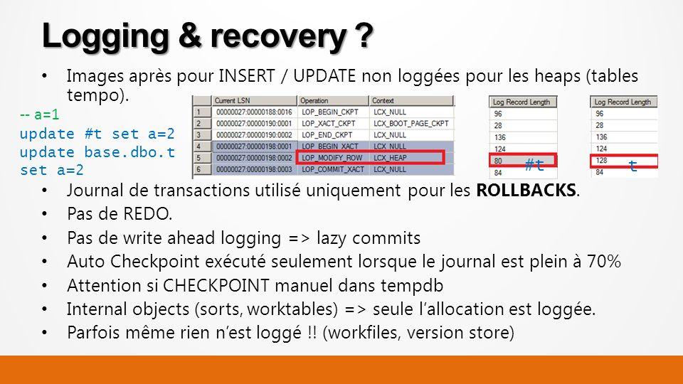 Images après pour INSERT / UPDATE non loggées pour les heaps (tables tempo).