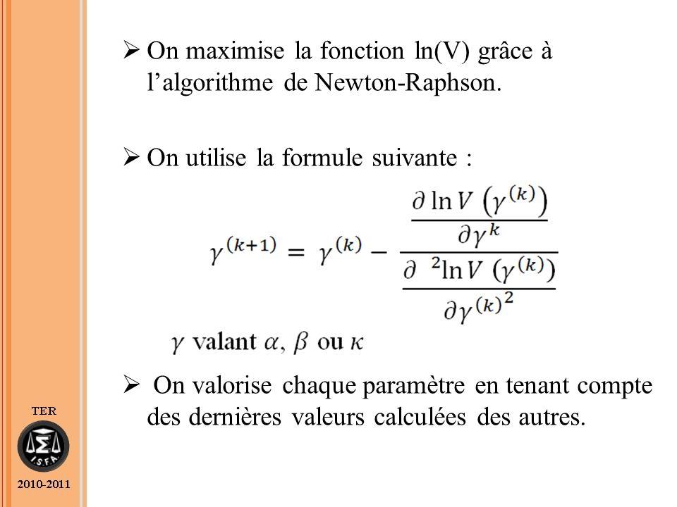 On maximise la fonction ln(V) grâce à lalgorithme de Newton-Raphson.