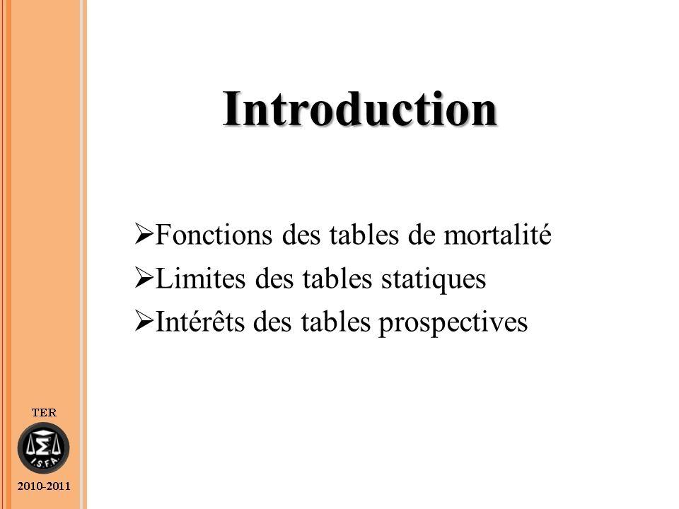 Introduction Fonctions des tables de mortalité Limites des tables statiques Intérêts des tables prospectives