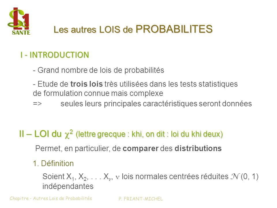 I - INTRODUCTION I - INTRODUCTION > II - LOI du x2 (1) Chapitre - Autres Lois de Probabilités Les autres LOIS de PROBABILITES Permet, en particulier,