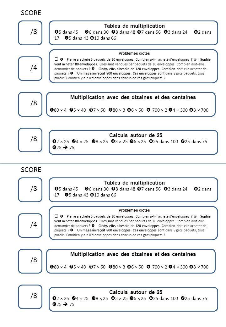 SCORE /8 Tables de multiplication 5 dans 45 6 dans 30 8 dans 48 7 dans 56 3 dans 24 2 dans 17 5 dans 43 10 dans 66 /4 /8 Calculs autour de 25 2 × 25 4