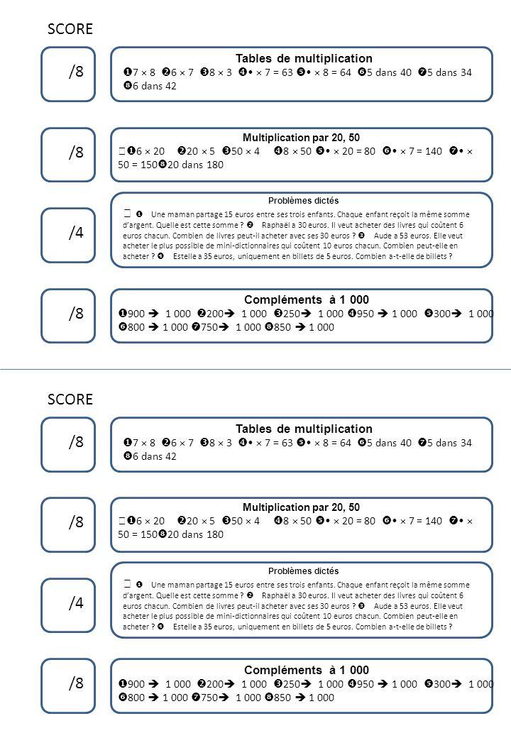 SCORE /8 /4 /8 Tables de multiplication 7 × 8 6 × 7 8 × 3 × 7 = 63 × 8 = 64 5 dans 40 5 dans 34 6 dans 42 Compléments à 1 000 900 1 000 200 1 000 250