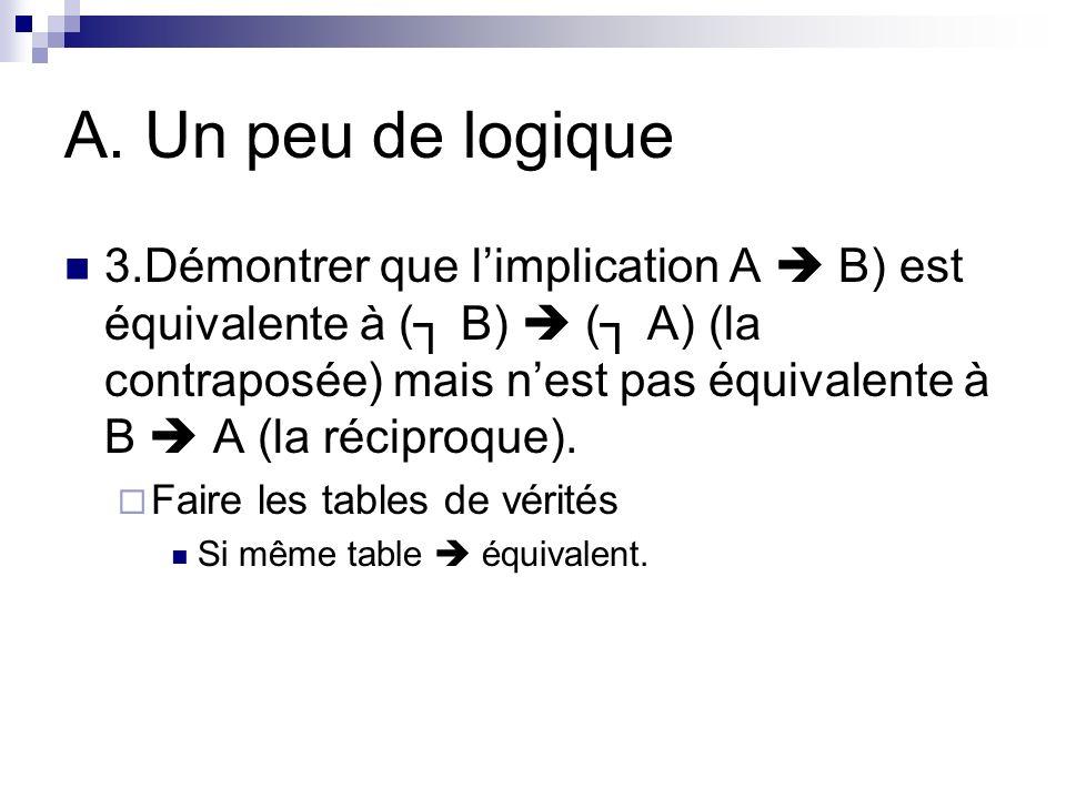 A. Un peu de logique 3.Démontrer que limplication A B) est équivalente à ( B) ( A) (la contraposée) mais nest pas équivalente à B A (la réciproque). F
