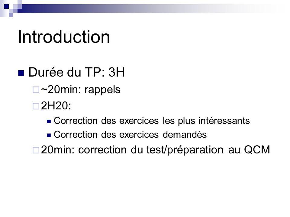 Introduction Durée du TP: 3H ~20min: rappels 2H20: Correction des exercices les plus intéressants Correction des exercices demandés 20min: correction