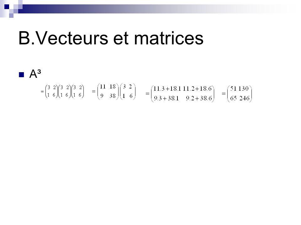 B.Vecteurs et matrices A³