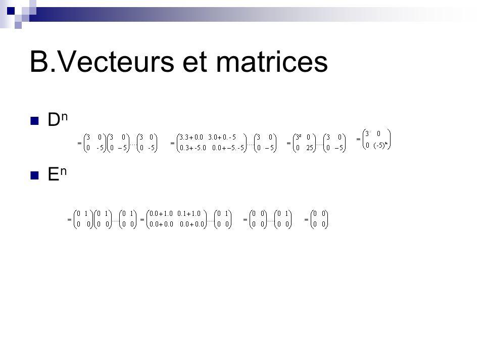 B.Vecteurs et matrices D n E n