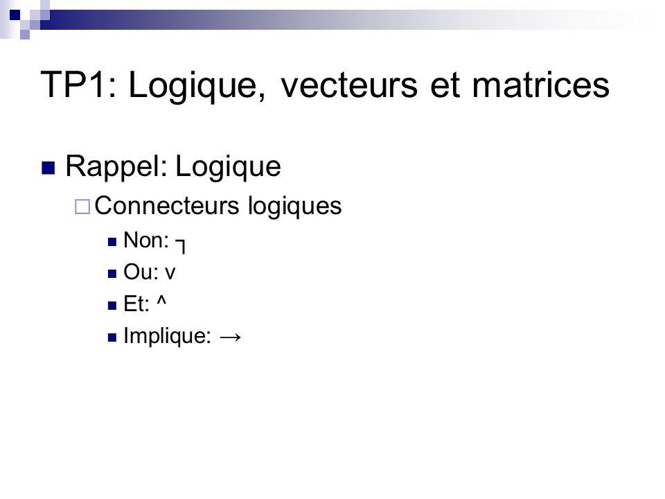 TP1: Logique, vecteurs et matrices Rappel: Logique Connecteurs logiques Non: Ou: v Et: ^ Implique: