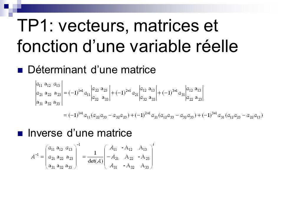 TP1: vecteurs, matrices et fonction dune variable réelle Déterminant dune matrice Inverse dune matrice