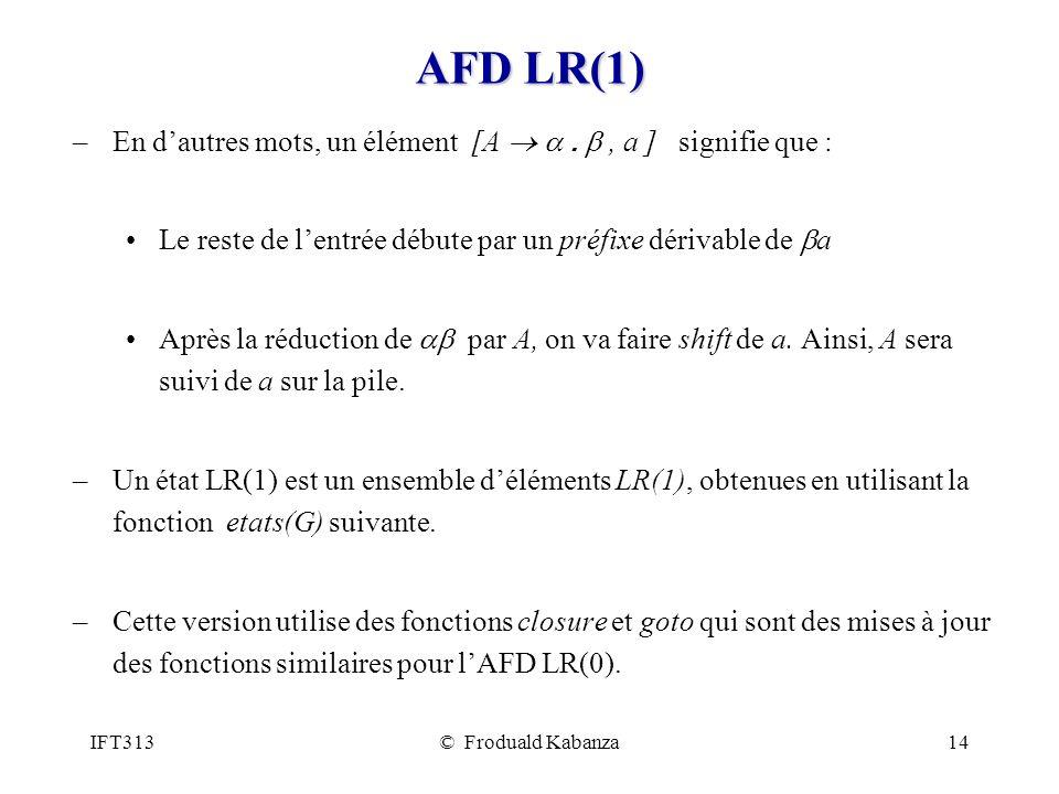 IFT313© Froduald Kabanza14 AFD LR(1) –En dautres mots, un élément [A., a ] signifie que : Le reste de lentrée débute par un préfixe dérivable de a Après la réduction de par A, on va faire shift de a.