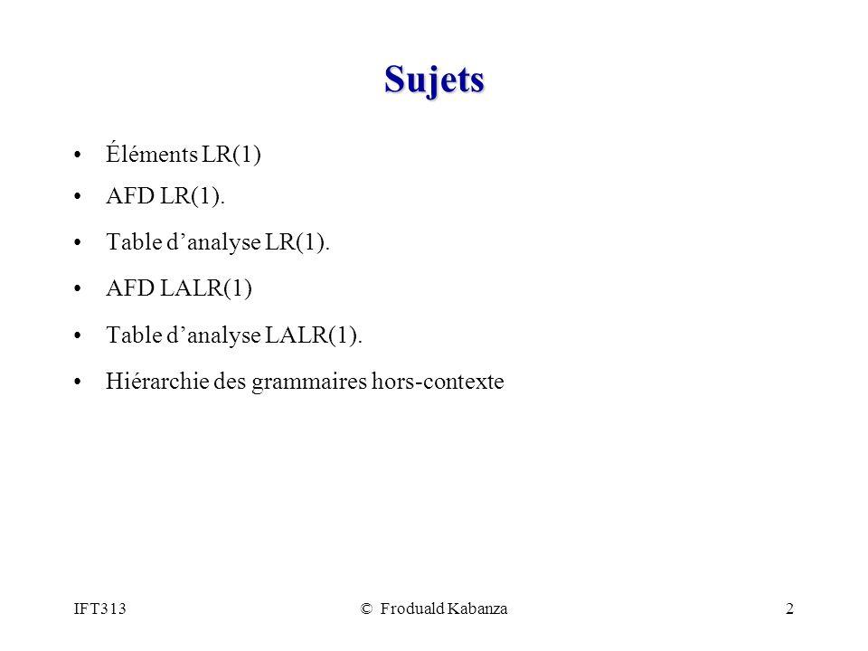 IFT313© Froduald Kabanza2 Sujets Éléments LR(1) AFD LR(1).