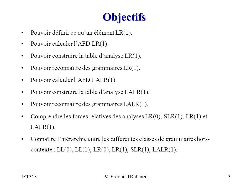 IFT313© Froduald Kabanza3 Objectifs Pouvoir définir ce quun élément LR(1).