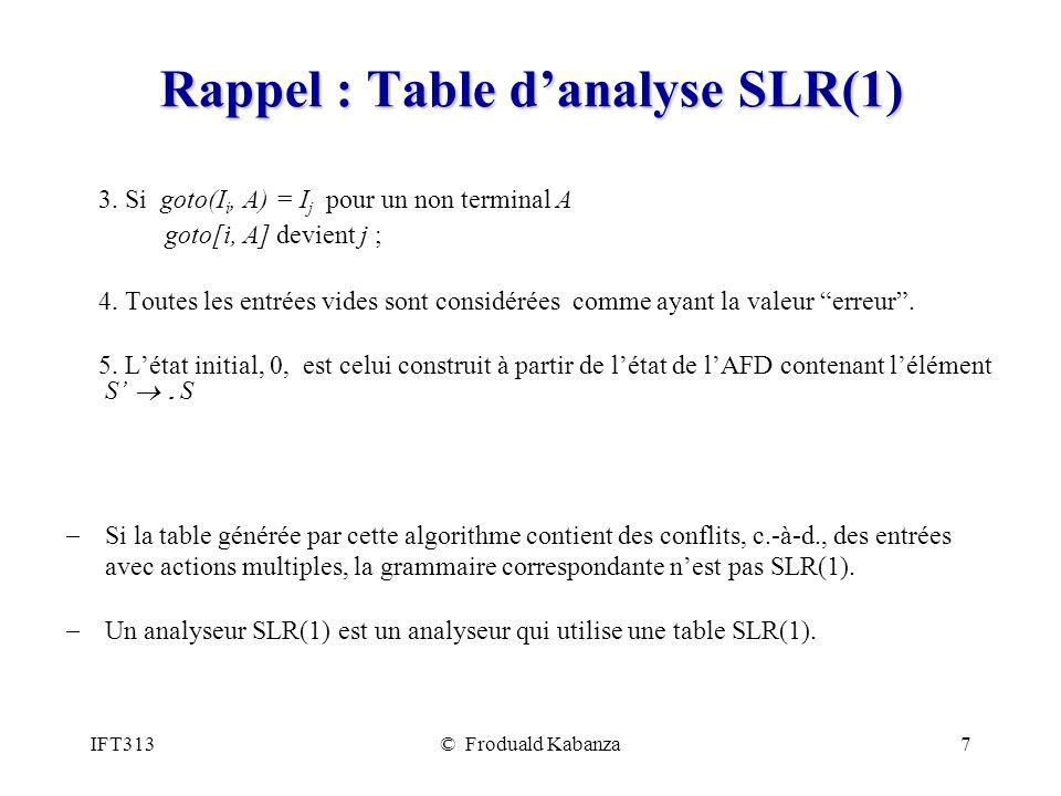 IFT313© Froduald Kabanza7 Rappel : Table danalyse SLR(1) 3.