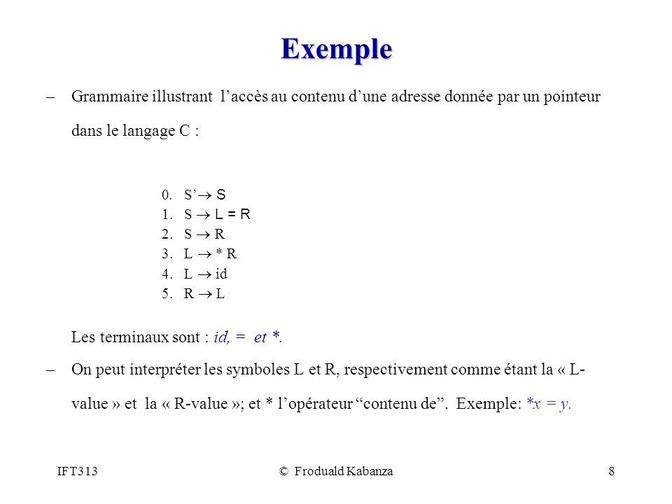IFT313© Froduald Kabanza8 Exemple –Grammaire illustrant laccès au contenu dune adresse donnée par un pointeur dans le langage C : 0.