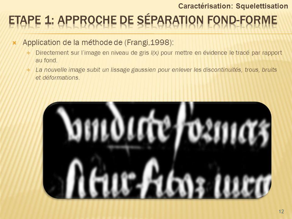 12 Caractérisation: Squelettisation Application de la méthode de (Frangi,1998): Directement sur limage en niveau de gris I(x) pour mettre en évidence