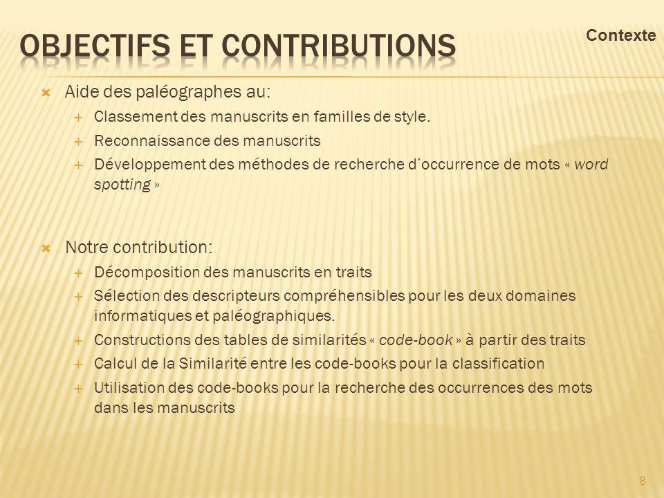Aide des paléographes au: Classement des manuscrits en familles de style. Reconnaissance des manuscrits Développement des méthodes de recherche doccur