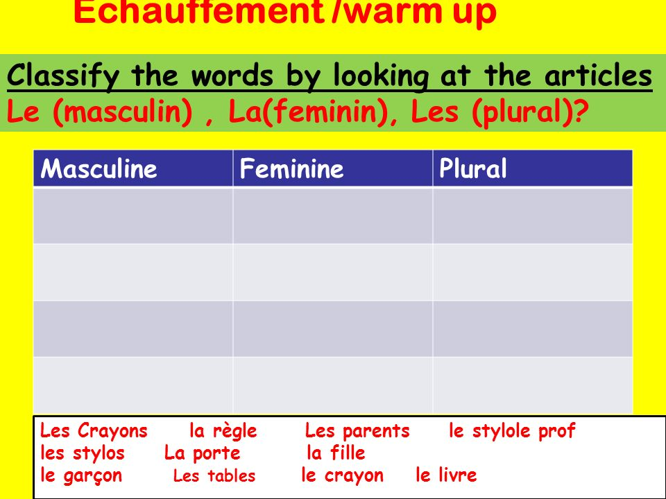 Classify the words by looking at the articles Le (masculin), La(feminin), Les (plural).