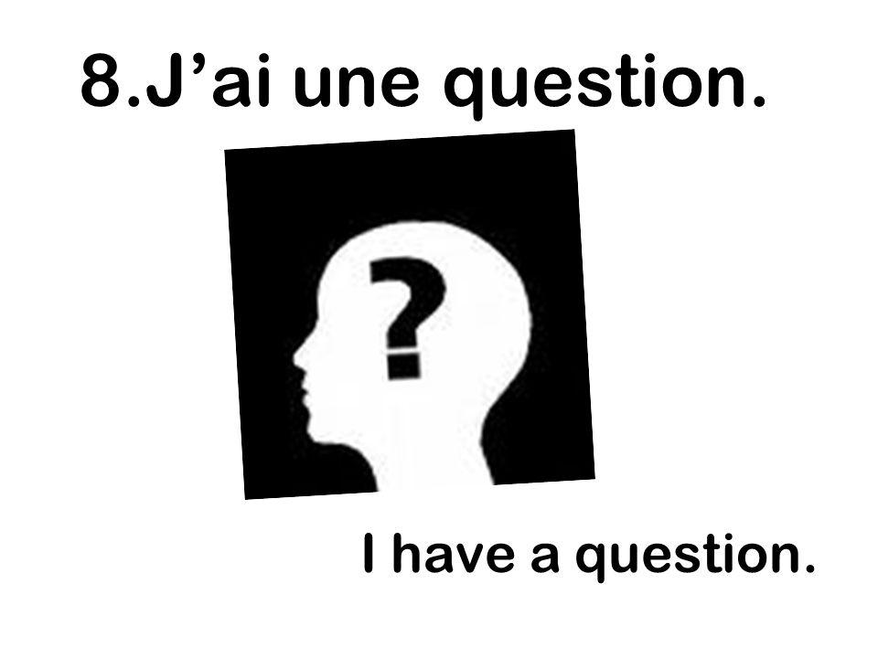 I have a question. 8.Jai une question.