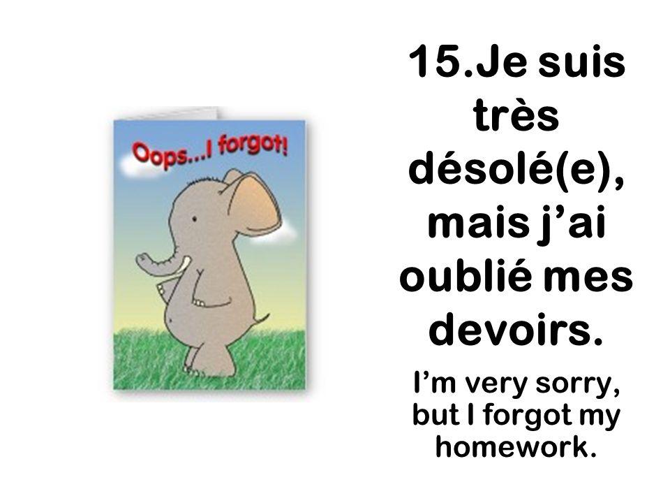 15.Je suis très désolé(e), mais jai oublié mes devoirs. Im very sorry, but I forgot my homework.