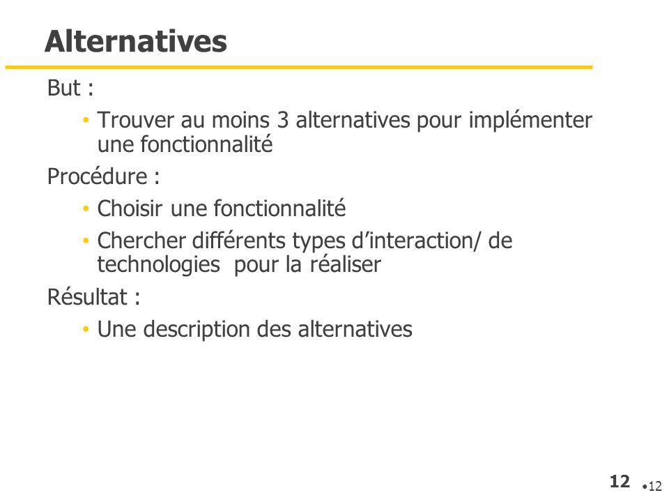 12 Alternatives But : Trouver au moins 3 alternatives pour implémenter une fonctionnalité Procédure : Choisir une fonctionnalité Chercher différents t