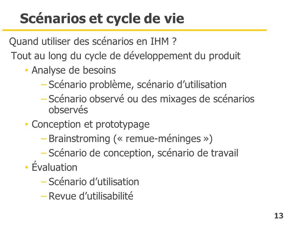 13 Scénarios et cycle de vie Quand utiliser des scénarios en IHM ? Tout au long du cycle de développement du produit Analyse de besoins –Scénario prob