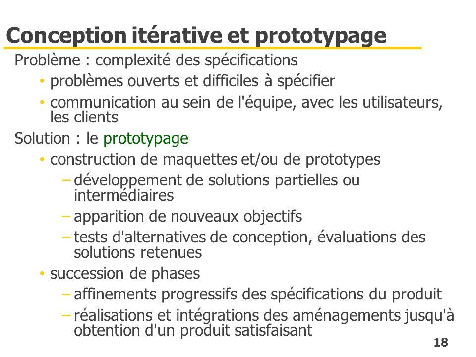 18 Conception itérative et prototypage Problème : complexité des spécifications problèmes ouverts et difficiles à spécifier communication au sein de l