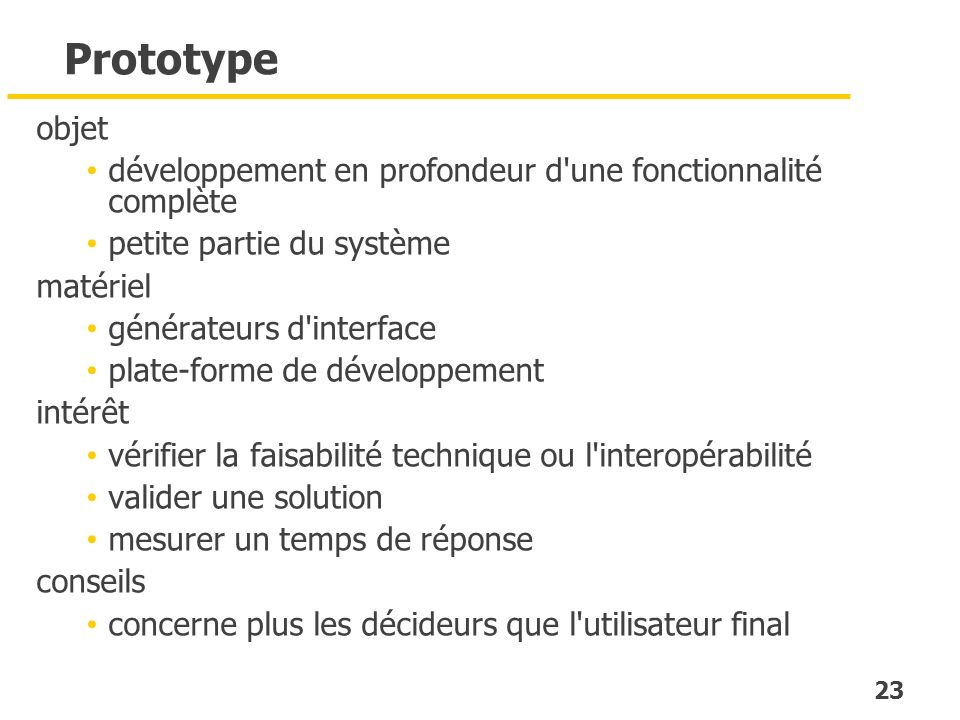 23 Prototype objet développement en profondeur d'une fonctionnalité complète petite partie du système matériel générateurs d'interface plate-forme de