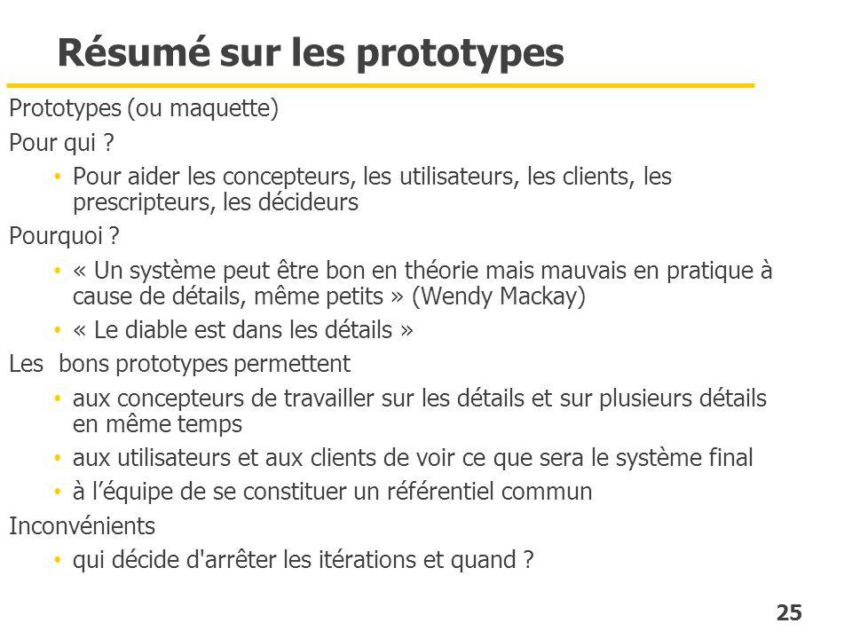 25 Résumé sur les prototypes Prototypes (ou maquette) Pour qui ? Pour aider les concepteurs, les utilisateurs, les clients, les prescripteurs, les déc