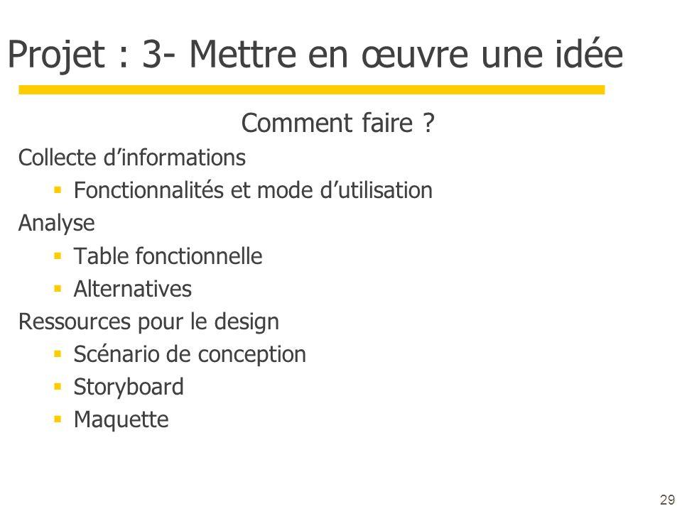 Projet : 3- Mettre en œuvre une idée Comment faire ? Collecte dinformations Fonctionnalités et mode dutilisation Analyse Table fonctionnelle Alternati