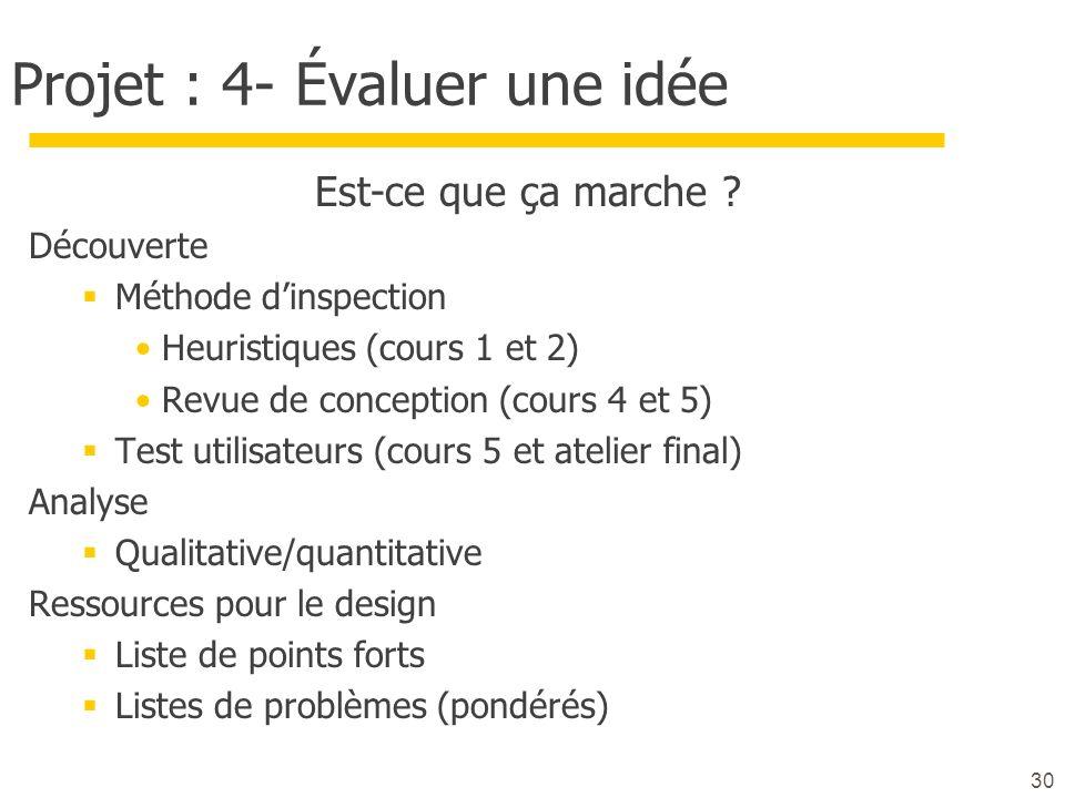 Projet : 4- Évaluer une idée Est-ce que ça marche ? Découverte Méthode dinspection Heuristiques (cours 1 et 2) Revue de conception (cours 4 et 5) Test