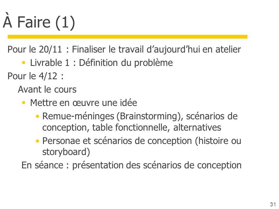 À Faire (1) Pour le 20/11 : Finaliser le travail daujourdhui en atelier Livrable 1 : Définition du problème Pour le 4/12 : Avant le cours Mettre en œu